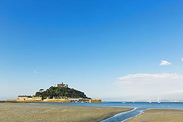 St. Michaels Mount, tidal island with a chapel in Cornwall (England)