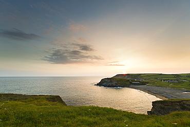The coastline of Gunwalloe at sunset (Cornwall, England)
