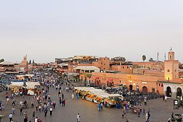 Regular evening drinks and food stalls on Jemaa el-Fna Square in Marrakesh, Morocco