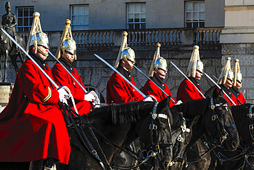 Soldiers of the Queen's Lifeguard at the Changing of the Guard on Horse Guard's Parade, London, England, United Kingdom, Europe
