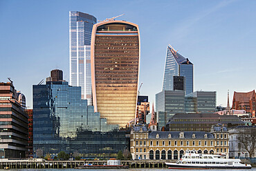 City of London skyline in winter 2019 showing the newly completed Twenty Two building (22 Bishopsgate) and the Walkie Talkie Building, London, England, United Kingdom, Europe