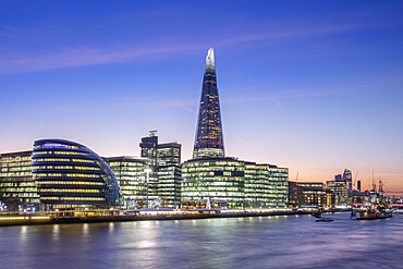 View of The Shard, City Hall and HMS Belfast in Southwark, Central London, England, United Kingdom, Europe