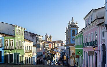View of the Pelourinho historical centre in Salvador, UNESCO World Heritage Site, Bahia, Brazil, South America