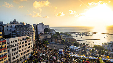 The Filhos de Gandhy carnival parade in the historical centre of Salvador, Bahia, Brazil, South America