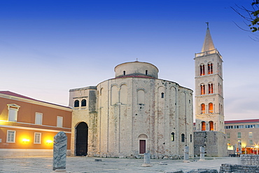 Ruined Roman forum, the Church of St. Donatus and the spire of St. Anastasia Cathedral, Zadar, Dalmatia, Croatia, Europe