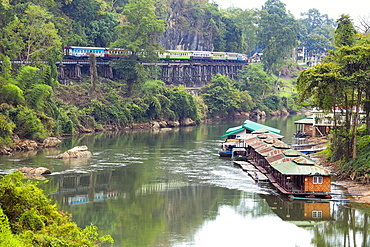 River Kwai train crossing the Wampoo Viaduct on the Death Railway above the River Kwai valley near Nam Tok, Kanchanaburi, Thailand, Southeast Asia, Asia