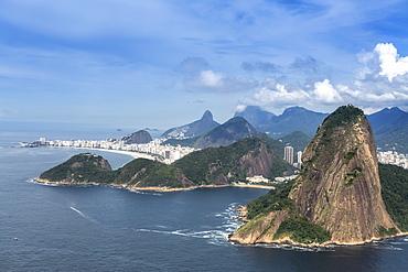 Aerial view of the Sugar Loaf, Copacabana Beach and the Serra da Carioca mountains, Rio de Janeiro, Brazil, South America