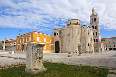 Roman forum, Church of St. Donatus and the spire of St. Anastasia Cathedral, Zadar, Dalmatia, Croatia, Europe