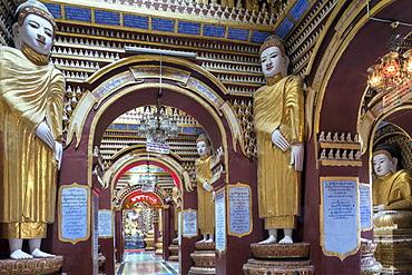 Thanboddhay (Thambuddhei) Paya Buddhist temple - buddhas in the interior, Monywa, Sagaing, Myanmar (Burma), Southeast Asia