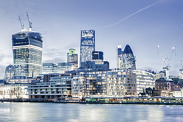 City of London skyline showing the Cheesegrater by architect Richard Rogers,, Gherkin by architect Norman Foster, and Walkie Talkie by architect Vinoly, City of London, London, England, United Kingdom, Europe