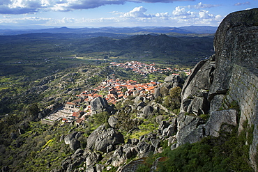 View from the castle of the medieval village of Monsanto in the municipality of Idanha-a-Nova, Monsanto, Beira, Portugal, Europe