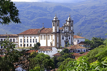 Our Lady of Carmo church in the Portuguese colonial town centre, UNESCO World Heritage Site, Ouro Preto, Minas Gerais, Brazil, South America