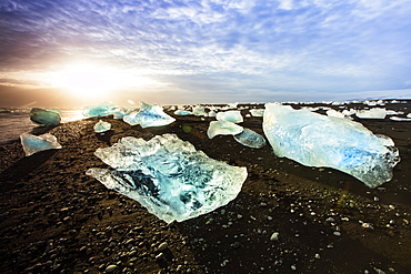 Icebergs on a black sand volcanic beach next to the Jokulsarlon glacial lake in Vatnajokull National Park in southeast Iceland, Polar Regions