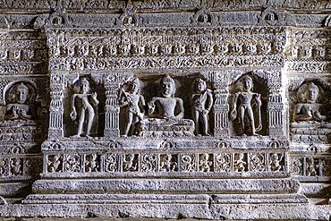 Buddhist carvings at the Ajanta Cave, UNESCO World Heritage Site, Maharashtra, India, Asia