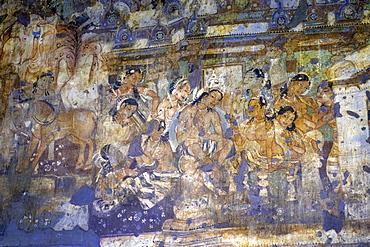 Buddhist painting in the Ajanta Caves, UNESCO World Heritage Site, Maharashtra, India, Asia