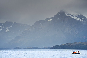 A fjord in the Darwin Mountain range, Alberto de Agostini National Park, Tierra del Fuego, Chilean Patagonia, Chile, South America