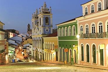 Pelourinho in city centre with Our Lady of the Roasary of Black People (Nossa Senhora do Rosario dos Pretos) at dusk, UNESCO World Heritage Site, Salvador de Bahhia, Bahia, Brazil, South America