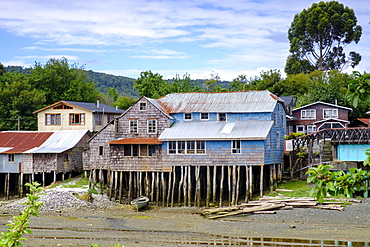 Palafita stilt wooden houses on Chiloe Island, Northern Patagonia, Chile, South America
