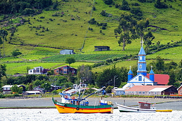 The Church of Tenaun (Church of Our Lady of Patrocinio), Chiloe island, Northern Patagonia, Chile, South America