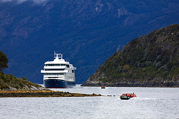 The Stella Australis cruise ship in the Beagle Channel, Patagonia, Chile, South America