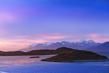 Islands and mountains in Tierra del Fuego near Ushuaia, Argentina, South America