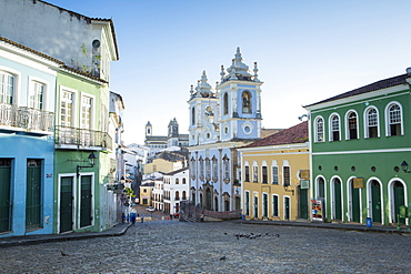Pelourinho in city centre with Our Lady of the Roasary of Black People (Nossa Senhora do Rosario dos Pretos), UNESCO World Heritage Site, Salvador de Bahia, Bahia, Brazil, South America