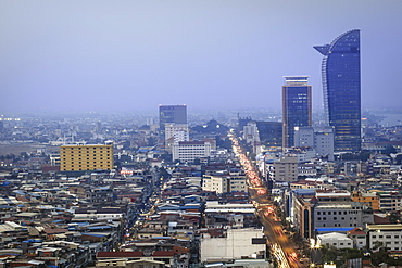 View of the city centre and downtown Central business district, Phnom Penh, Cambodia, Indochina, Southeast Asia, Asia