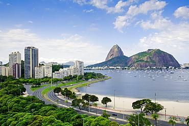 The Sugar Loaf and Botafogo Bay, Botafogo neighbourhood, Rio de Janeiro, Brazil, South America