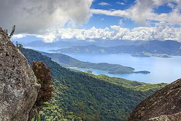 View of the Green Coast (Costa Verde) from Ilha Grande near Rio de Janeiro, Brazil, South America