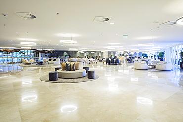 Interior lobby bar in the newly refurbished Hotel Nacional by architect Oscar Niemeyer, Rio de Janeiro, Brazil, South America