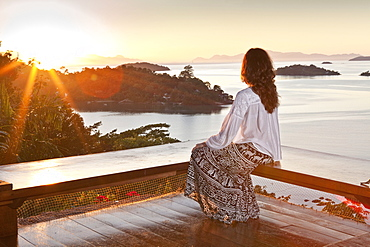 A guest sitting at the Angatu Guest House, Paraty, Rio de Janeiro State, Brazil, South America