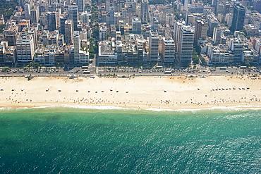 Aerial view of Ipanema beach, Rio de Janeiro, Brazil, South America
