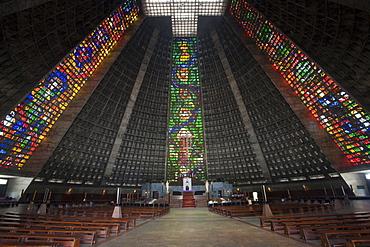 Interior of the Metropolitan Cathedral of St. Sebastian, Rio de Janeiro, Brazil, South America