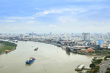 The skyline of Ho Chi Minh City (Saigon) showing the Bitexco tower and the Saigon River, Ho Chi Minh City, Vietnam, Indochina, Southeast Asia, Asia