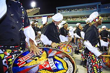 Samba drummers at the main Rio de Janeiro Carnival parade in the Sambadrome (Sambodromo) arena, Rio de Janeiro, Brazil, South America
