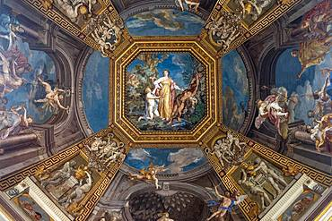 The painted ceiling in the Hall of the Muses inside Vatican Museum, UNESCO World Heritage Site, Vatican City, Rome, Lazio, Italy, Europe
