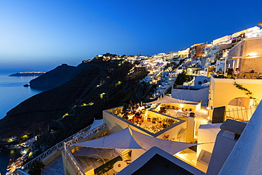 View of the Aegean Sea from the typical Greek village of Firostefani at dusk, Santorini, Cyclades, Greek Islands, Greece, Europe