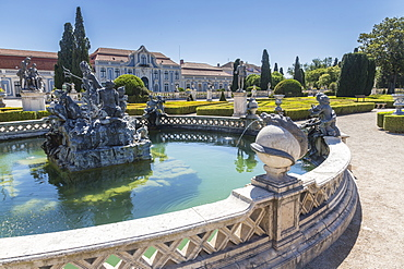 Fountains and ornamental statues in the gardens of the royal residence of Palacio de Queluz, Lisbon, Portugal, Europe