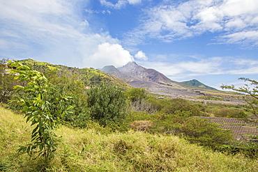 View of the haze around the peak of Soufriere Hills volcano, Montserrat, Leeward Islands, Lesser Antilles, West Indies, Caribbean, Central America
