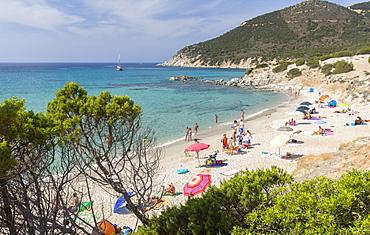 Mediterranean vegetation frames the beach and the turquoise sea of Porto Sa Ruxi, Villasimius, Cagliari, Sardinia, Italy, Mediterranean, Europe