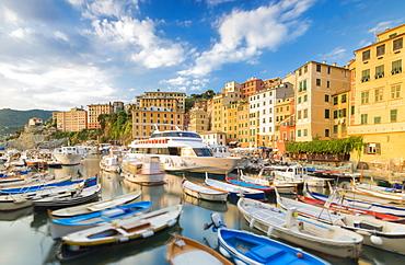 Blue sky over harbour of the fishing village of Camogli, Gulf of Paradise, Portofino National Park, Genoa Province, Liguria, Italy, Europe