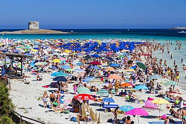 Tourists and beach umbrellas at La Pelosa Beach, Stintino, Asinara National Park, Province of Sassari, Sardinia, Italy, Europe
