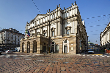 View of the Teatro Alla Scala (La Scala) known worldwide for opera and ballet, Milan, Lombardy, Italy, Europe