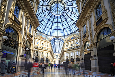 The shopping arcades and the glass dome of the historical Galleria Vittorio Emanuele II, Milan, Lombardy, Italy, Europe
