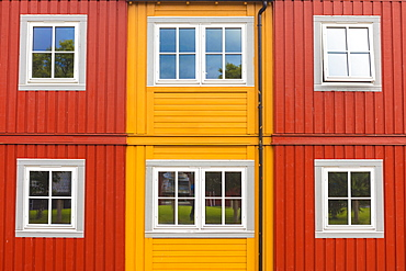Details of facades and windows of typical wooden houses of fishermen in Svolvaer, Vagan, Lofoten Islands, Norway, Scandinavia, Europe