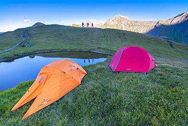 Camping tents and hikers with Mont De La Saxe on the background, Courmayeur, Aosta Valley, Italy, Europe