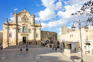 The ancient Church San Francesco D'Assisi in the historical center of the old town, Matera, Basilicata, Italy, Europe