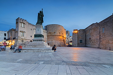 Dusk lights on the medieval fortress and squares of the old town, Otranto, Province of Lecce, Apulia, Italy, Europe