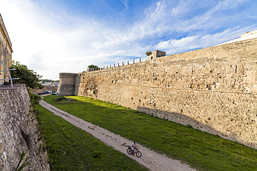 The medieval walls and fortress in the old town of Otranto, Province of Lecce, Apulia, Italy, Europe