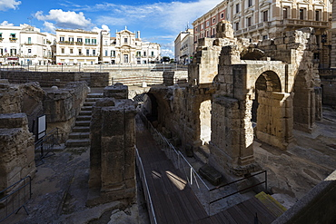Ancient builldings and Roman ruins in the old town, Lecce, Apulia, Italy, Europe